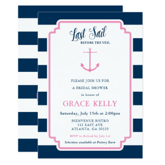 Rosa und Marine-SeeBrautparty-Einladung Karte