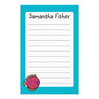 Rosa und orange Tupfen-Fische Briefpapier