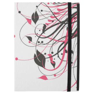 Rosa-und Schwarz-Blumendruck iPad Fall