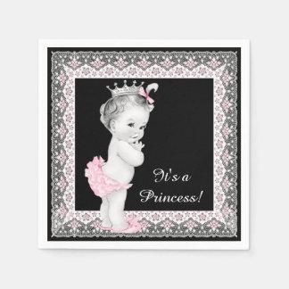 Rosa und schwarze Babyparty Papierservietten