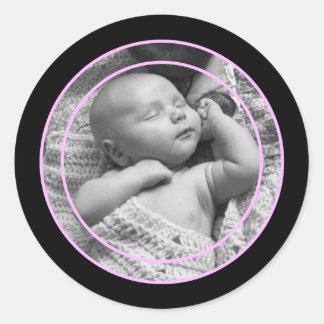 Rosa und schwarzer Foto-Rahmen Runder Aufkleber