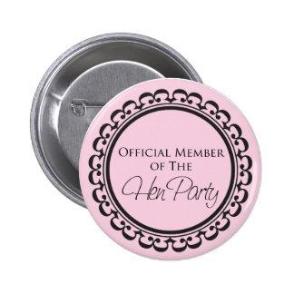 Rosa und schwarzer Knopf des Henne-Party Runder Button 5,7 Cm