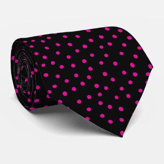 Rosa und schwarzes Confetti-Punkt-Muster Personalisierte Krawatte