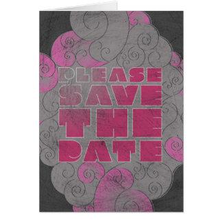 Rosa und Schwarzes extravagantes Save the Date Karte