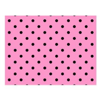 Rosa und schwarzes Tupfen-Muster Postkarte