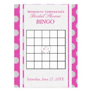 Rosa und Silber des Brautparty-Bingo-  Postkarten