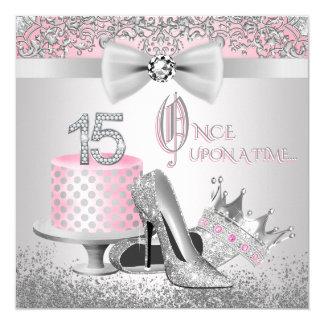 Rosa und silberne Prinzessin Quinceanera Quadratische 13,3 Cm Einladungskarte