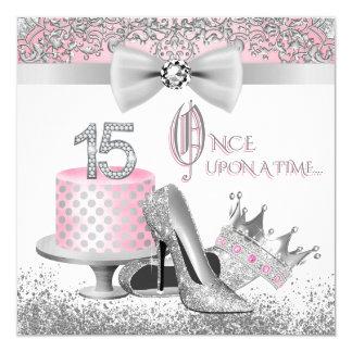 Rosa und silberne Quinceanera Prinzessin 15. Quadratische 13,3 Cm Einladungskarte