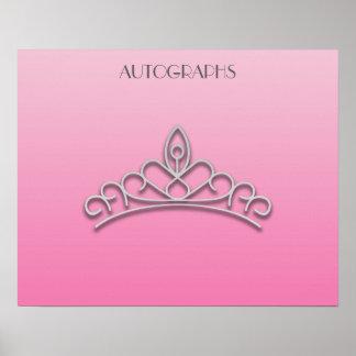 Rosa und silbernes Festzug-Tiara-Autogramms-Plakat Poster