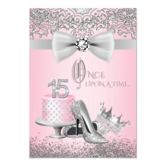 Rosa und silbernes Quinceanera 12,7 X 17,8 Cm Einladungskarte