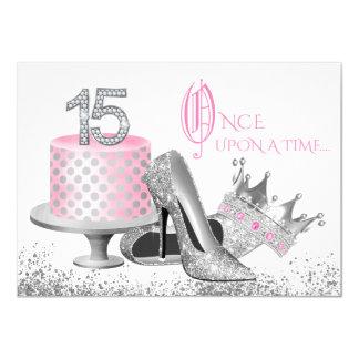 Rosa und silbernes Quinceanera Geburtstags-Party 11,4 X 15,9 Cm Einladungskarte