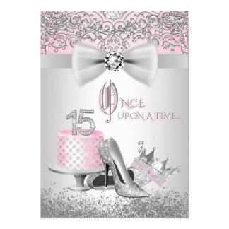 Rosa und silbernes Quinceanera Geburtstags-Party 12,7 X 17,8 Cm Einladungskarte