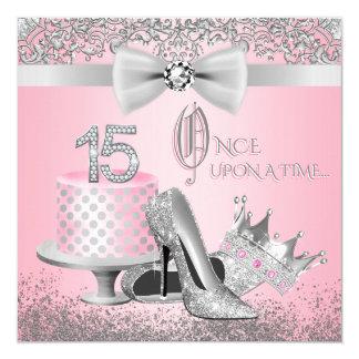 Rosa und silbernes Quinceanera Geburtstags-Party Quadratische 13,3 Cm Einladungskarte