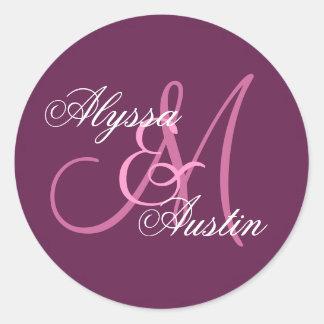 ROSA und WEIN Hochzeits-Name-Monogramm A3 Runder Aufkleber