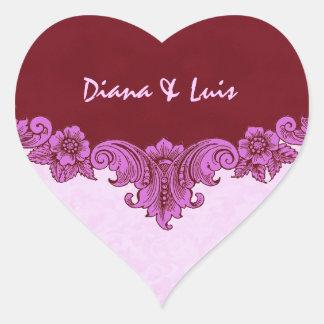 Rosa-und Wein-Vintage Hochzeits-Braut und Herz Sticker