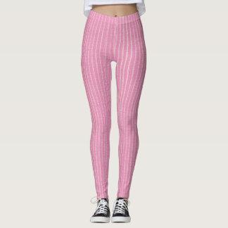 Rosa-und weiße, hellrosaButton-Streifen-Gamaschen Leggings