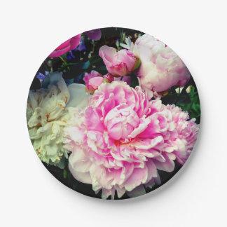 Rosa und weiße Pfingstrosen Pappteller