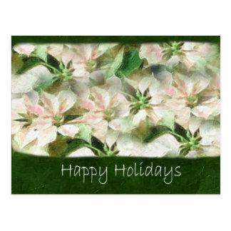 Rosa und weiße Poinsettias 1 Painterly - glücklich Postkarte