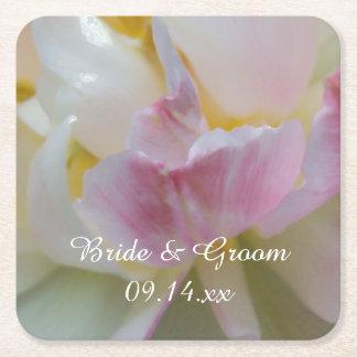 Rosa und weiße Tulpe-Blumen-Frühlings-Hochzeit Rechteckiger Pappuntersetzer