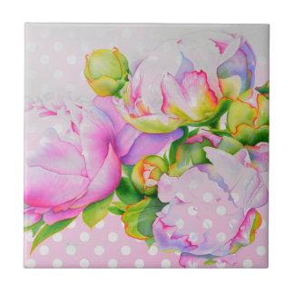 Rosa und weiße Tupfen der großartigen Pfingstrose Kleine Quadratische Fliese