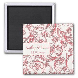 Rosa-und weißeblumenfrühlings-Hochzeit Quadratischer Magnet