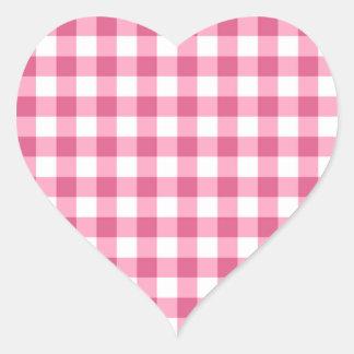 Rosa und weißes Gingham-Karo-Muster Herz-Aufkleber