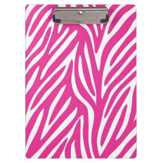 Rosa und weißes Zebra-Streifen-Muster Klemmbrett