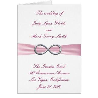 Rosa Unendlichkeits-Hochzeits-Programm-Karte Grußkarte