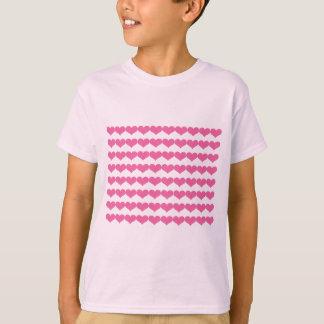 Rosa Valentinsgruß-Herz-Muster T-Shirt