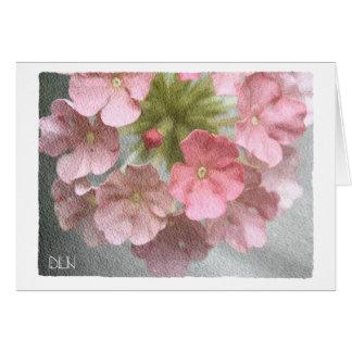 Rosa Verbene/Blumenkunst-/Aquarell-Blick Karte