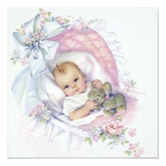 Rosa Vintage Baby-Mädchen-Pastelldusche Quadratische 13,3 Cm Einladungskarte