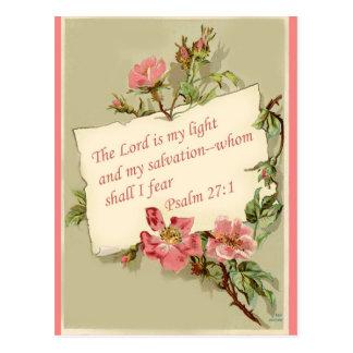 Rosa Vintage Blumen-Bibel-Vers-Postkarte Postkarte