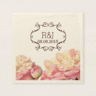 rosa Vintage Blumenleuchter-Frühlingshochzeit Papierserviette