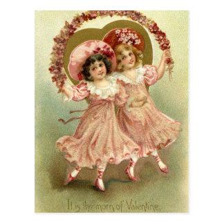Rosa Vintage Freundschaft des Valentines Tages Postkarte