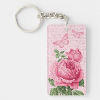 Rosa Vintage Rose girly keychain mit Schlüsselanhänger