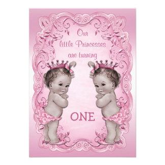 Rosa Vintager 1 Geburtstag Prinzessin-Twins Personalisierte Einladungen