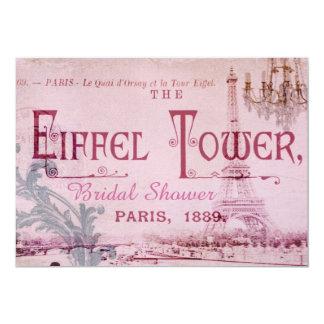 rosa Vintages Paris-Brautparty Eiffel-Turms Karte