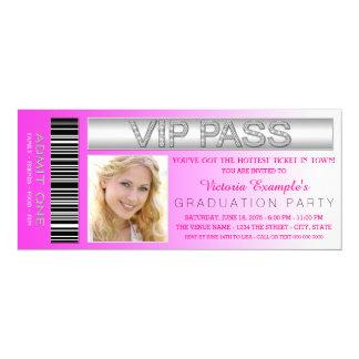 Rosa VIP-Durchlauf-Aufnahme-Karten-Abschluss-Party 10,2 X 23,5 Cm Einladungskarte