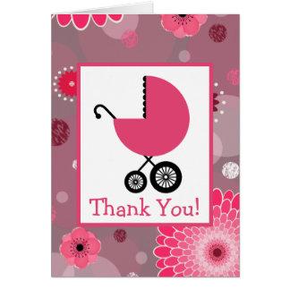 Rosa Wagen-Babyparty danken Ihnen Karte