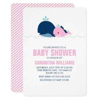 Rosa Wal-Mädchen-Babyparty 12,7 X 17,8 Cm Einladungskarte
