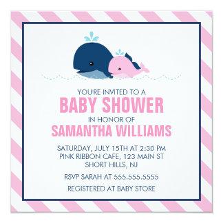 Rosa Wal-Mädchen-Babyparty Quadratische 13,3 Cm Einladungskarte