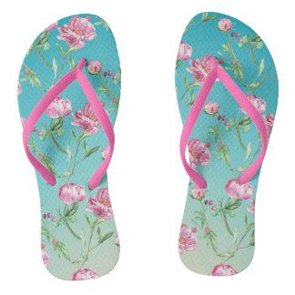 Rosa Wasserfarbe-Rosen Flip Flops