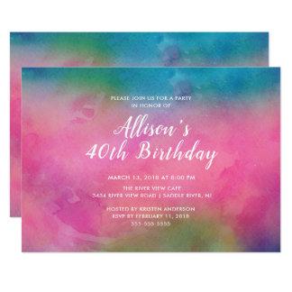 Rosa Watercolor-40. Geburtstags-Party Einladung