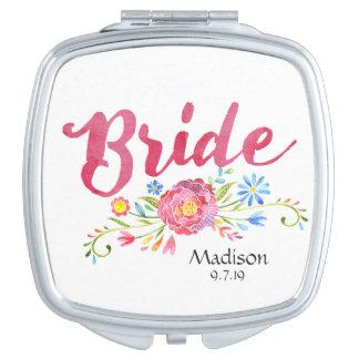 Rosa Watercolor-Blumen-Braut-Vertrags-Spiegel Schminkspiegel