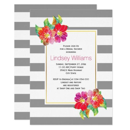 Rosa Watercolor-Blumen, die Brautparty wedding Karte