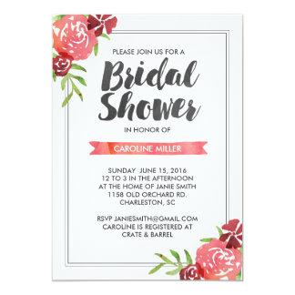Rosa Watercolor-BlumenBrautparty-Einladung 12,7 X 17,8 Cm Einladungskarte