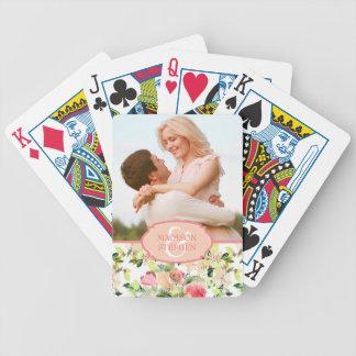 Rosa Watercolor-Blüten-Muster - Hochzeits-Foto Bicycle Spielkarten