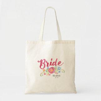 Rosa Watercolor-Braut-Tasche mit bunten Blumen Budget Stoffbeutel