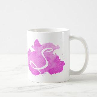 Rosa Watercolor-Monogramm-Initialen-Kaffee-Tasse Tasse
