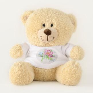 Rosa Watercolor-wilde Rosen-Miniblumenblumenstrauß Teddybär